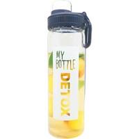 My Bottle Tutamaçlı Detoks Cam Şişe, Detoks Cam Matara, Kapaklı Detoks Cam Matara, 550 ml - Siyah