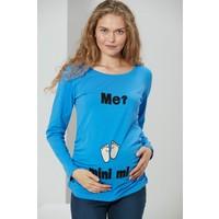 Gör&sin Ayak Baskılı Uzun Kol Hamile Indigo Tişört M