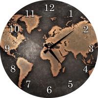 Dafhi Ahşap Duvar Saati - Dünya Haritası