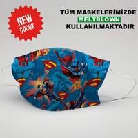 3nnn Superman Desen Yıkanabilir Çocuk Maske (5 Adet)
