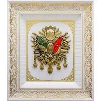 Helal Hediyelik 45x52cm Beyaz Osmanlı Devlet Arması Çerçeveli Tablo
