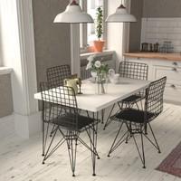 Güven Home Sümbül 4 Kişilik Beyaz Renk Mutfak Masa Takımı Mutfak Masa Tel Sandalye Takımı