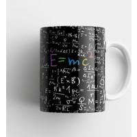 Kişisel Tasarım Albert Einstein E=mc2 Fizik Formülü Tasarım Baskılı Porselen Kupa Bardak