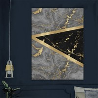 Ören Gri/gold/siyah Renk Mermer Desen Dijital Kaymaz Termal Taban Halı