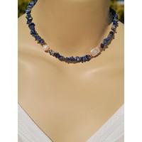 Dizayn Cam Mavi Lapis Lazuli Doğaltaş ve Inci Tasarım Kolye