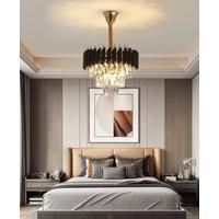 Burenze Luxury Modern Kristal Taşlı Sarkıt Avize Siyah Rose Gold Sarı Küçük Boy 30 cm Çap BURENZE568