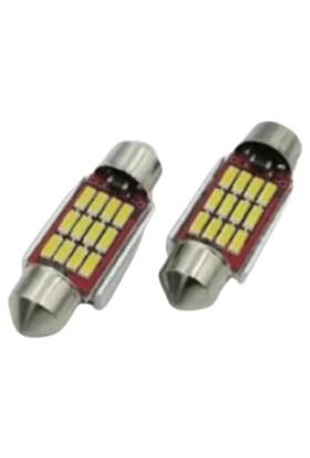 Canbus Iç Tavan LED Alüminyum Soğutmalı 12 Sofid LED / 2 Adet 12 Volt, Beyaz 41 mm