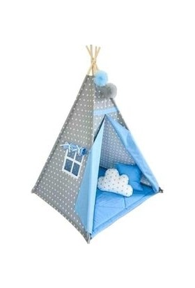 Mavienerji Pamuk Ahşap Çocuk Oyun Çadırı Kızılderili Çadırı Oyun Evi Mavi