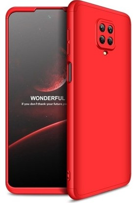 Aksesuarkolic Xiaomi Redmi Note 9 Pro Kılıf 360 Derece Kılıf Kırmızı