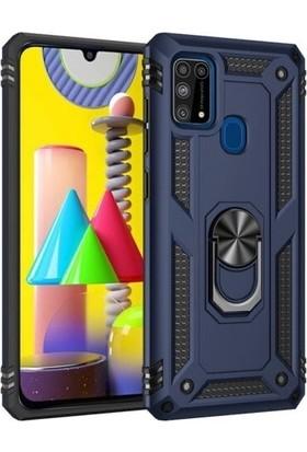 Aksesuarkolic Samsung Galaxy M31 Kılıf Vega Yüzüklü Tank Kapak Lacivert