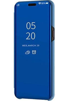 Smart Tech Xiaomi Redmi Note 6 Pro Aynalı Kapaklı Lüx Kılıf Mavi