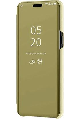 Smart Tech Xiaomi Mi CC9E Aynalı Kapaklı Lüx Kılıf Gold