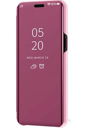 Smart Tech Xiaomi Mi CC9E Aynalı Kapaklı Lüx Kılıf Rose Gold