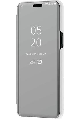 Smart Tech Xiaomi Mi CC9E Aynalı Kapaklı Lüx Kılıf Gümüş
