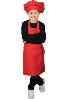 Mandalin Consept Mutfak Önlüğü Şapkalı (Çocuklar Için) Kırmızı