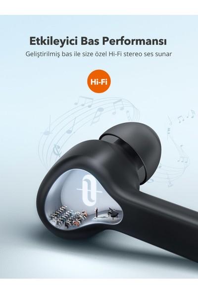 TaoTronics SoundLiberty 53 PRO USB-C Şarj Kılıflı Dört Mikrofonlu IPX8 Ter/Su Dayanıklı Tek/Çift Kullanım Bluetooth Kulaklık 30 Saat Müzik - Siyah