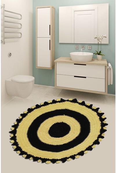 Nuh Home Banyo Halısı & Banyo Paspası Siyah Limon Sarısı Yuvarlak Paspas