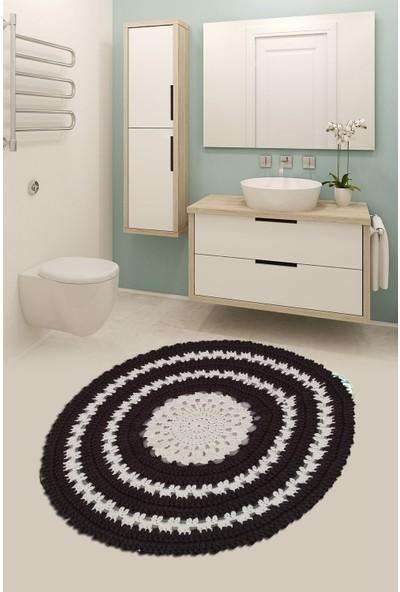Nuh Home Banyo Halısı Penye Yumuşak Halı-Krem-Kahve Renkli Banyo Paspası