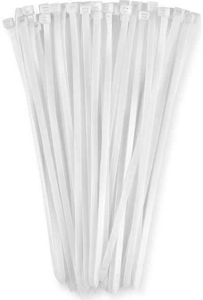 Numerouno 10CM x 2,5mm Plastik Cırt Kelepçe ( Kablo Bağı) Saydam-Beyaz 100 Adet