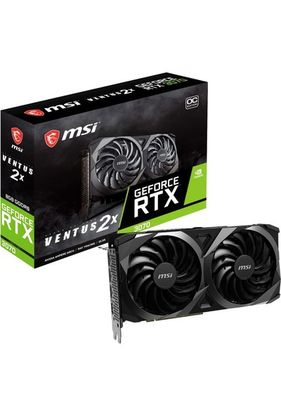 MSI GeForce RTX 3070 Ventus 2X OC 8GB GDDR6 256Bit DX(12) PCI-Express 4.0 Ekran Kartı (GeForce RTX 3070 VENTUS 2X OC)