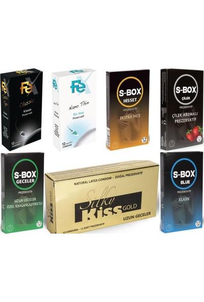 FP08 Silky Kiss Kondom Prezervatif Seti 12'li 7 Paket (84 Adet)