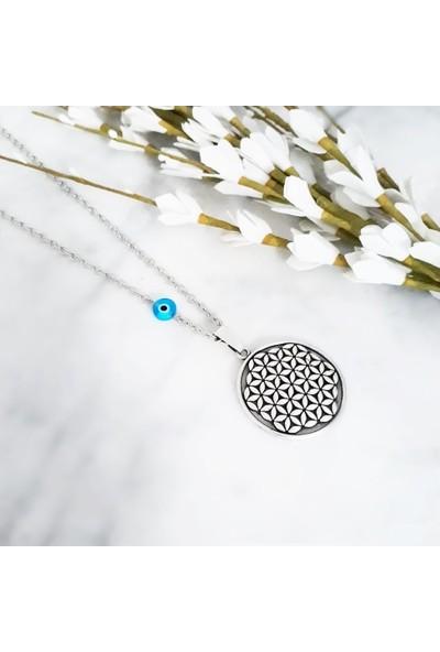 BijuStore Gümüş Kaplama Nazar Boncuklu Yaşam Çiçeği Kadın Kolye