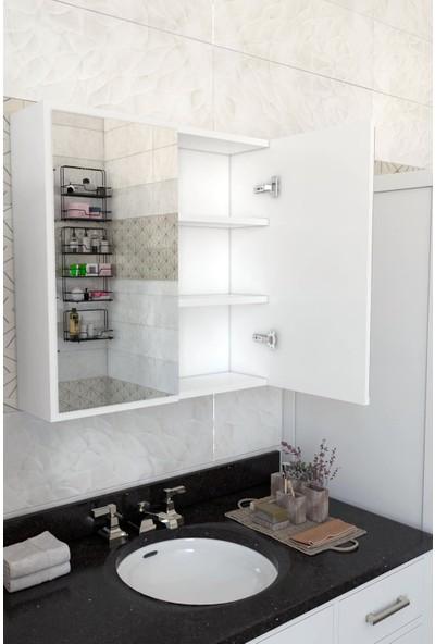 Remaks Aynalı Kapaklı Makina Üstü Çamaşır Makinası Dolabı - Beyaz