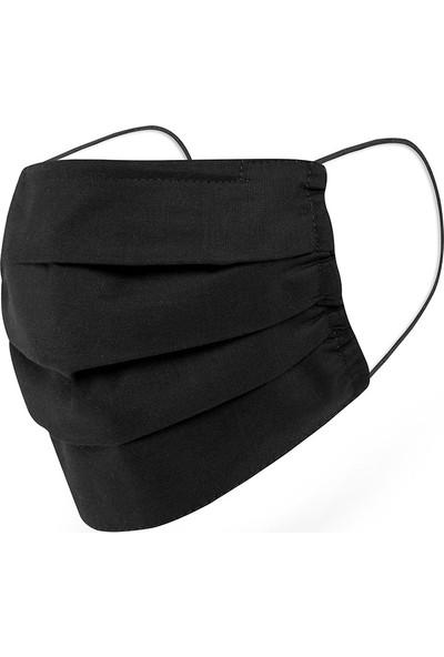 Mutlu Maske Siyah Gri Kahverengi 3 Katlı Burun Telli Yıkanabilir Pamuklu Kumaş Yüz Maskesi 3'lü Set