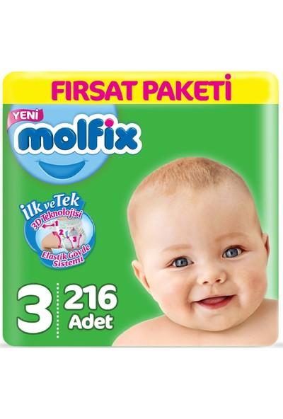 Molfix Bebek Bezi 3 Beden Fırsat Paketi 4-9 kg (3*72) 216LI