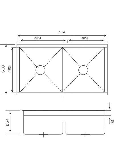 Crauf Evye Vertice 914 x 508 x 254 mm Inox