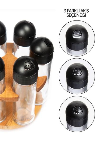 Joy Kitchen Sofia 6'lı Dönen Baharatlık Seti - Siyah Kapaklı
