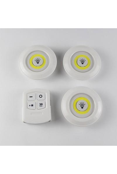 Evene Kumandalı Spot LED 3'lü Uzaktan Kumanda Pilli Kablosuz Işık Lamba