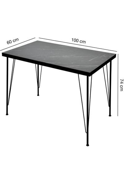 Lovera 60 x 100 cm Siyah Mermer Desen Masa Metal Ayak