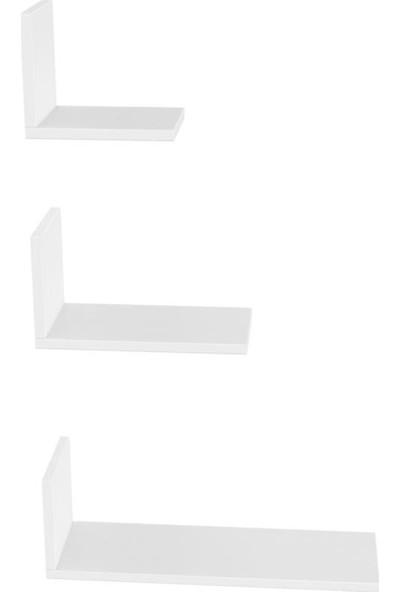 Mimilos R5 3 lü Üçlü Dekoratif L Duvar Rafı