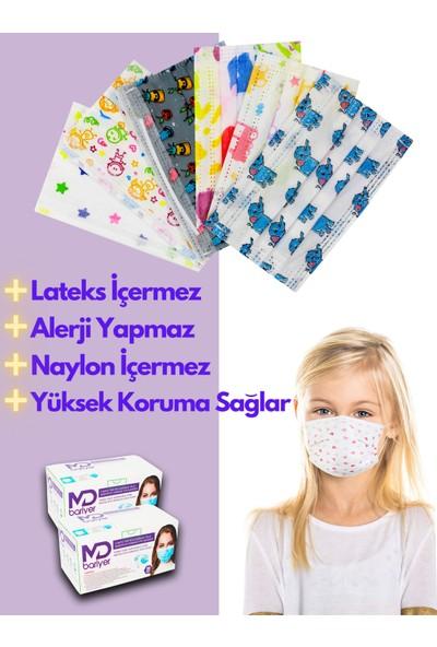 Md Bariyer 8 - 12 Yaş Çocuk Mix 3 Katlı Tek Kullanımlık Burun Telli Full Ultrasonic Renkli Cerrahi Çocuk Maskesi 100 Adet + 10 Adet Yetişkin Maskesi