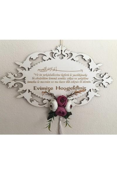 Tuğra Kapı Süsü Evimize Hoşgeldiniz Şakayık Çiçekli Mdf 40 x 25 cm