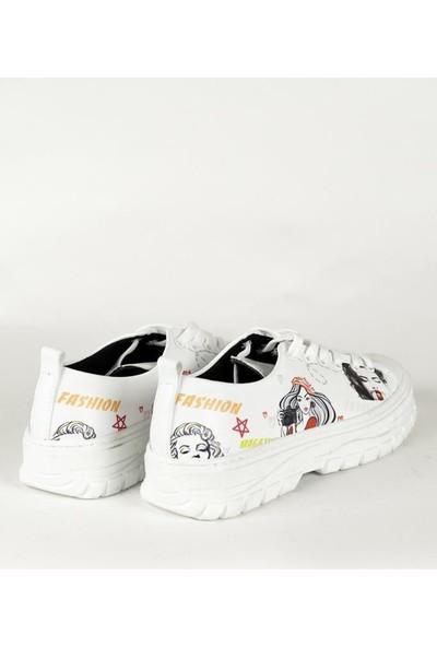 Dks Z003 Renkli Baskılı Fashion Kadın Sneakers