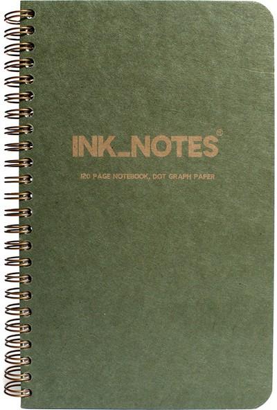 Ink_Notes IN-HCG002 Yeşil Sert Kapak Spiralli Noktalı Defter 13 x 21 cm