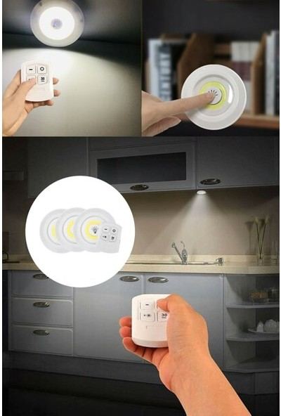 Skygo Uzaktan Kumandalı Yapışkanlı 3'lü LED Spot Lamba