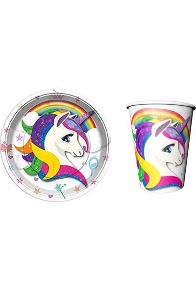 Tuğra Unicorn Renkli Tabak Bardak Set 16 Parça Lisanslı Ürünler