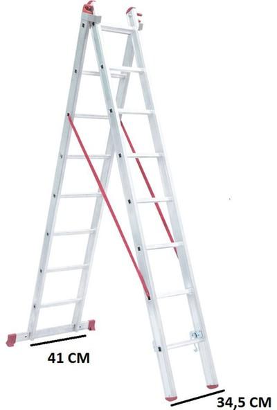 beykon Alüminyum A Tipi 2 x 2 M Toplam 4 Metre Sürgülü Endüstriyel Ptt Merdiven
