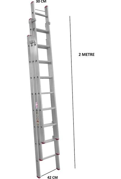 beykon Alüminyum 3 x 2 M Toplam 6 M Endüstriyel Sürgülü Merdiven