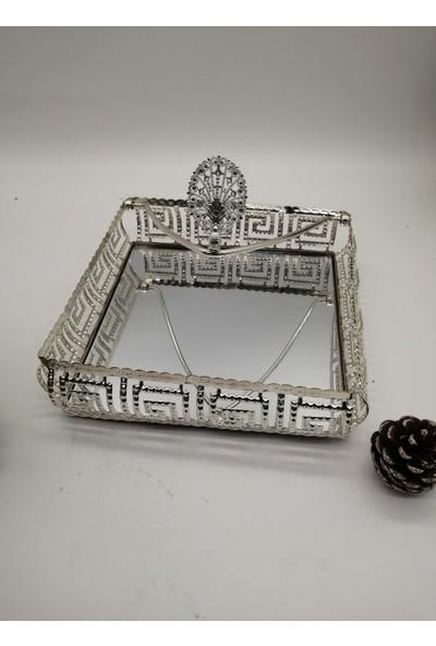 Armin Yaprak Topuzlu Versace Model Gümüş Peçetelik 19 x 19 x 5 Cm.