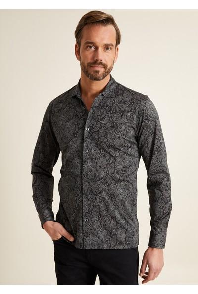 Bisse Regular Fit Desenli Örme Gömlek Model Sweatshirt