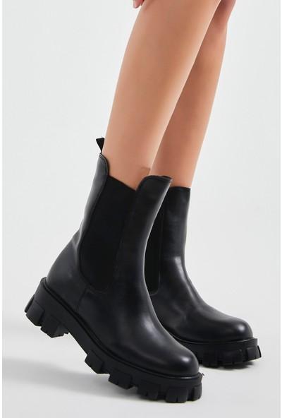 Eataly Shoes Kadın 15 cm Yandan Lastikli Bot Es000227Sc