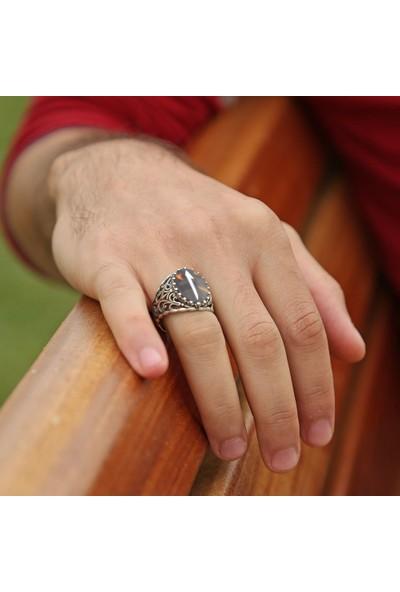 Tesbihname Bağa Üzerine Sedef Kakma Elif Motifli El İşçiliği 925 Ayar Gümüş Yüzük