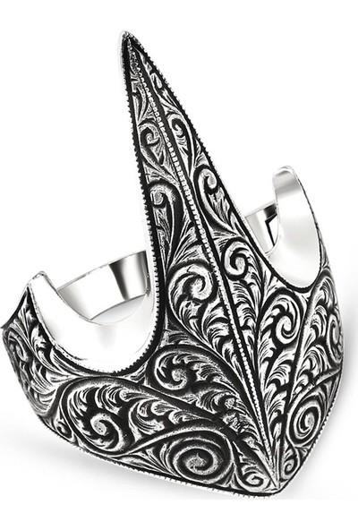 Tesbihname Özel Tasarım Eskitme Renk 925 Ayar Gümüş Okçu (Zihgir) Yüzüğü