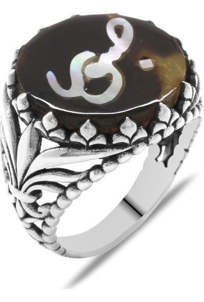 Tesbihname Bağa Üzerine Sedef Kakma Sabır Yazılı El İşçiliği 925 Ayar Gümüş Yüzük