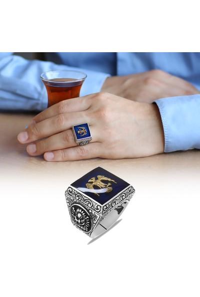 Tesbihname Kare Tasarım Çift Başlı Kartal ve Arma Temalı Mavi Mineli 925 Ayar Gümüş Erkek Yüzük