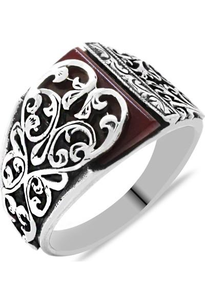 Tesbihname Erzurum Kalem İşlemeli Kırmızı Sıkma Kehribar Taşlı 925 Ayar Gümüş Erkek Yüzük